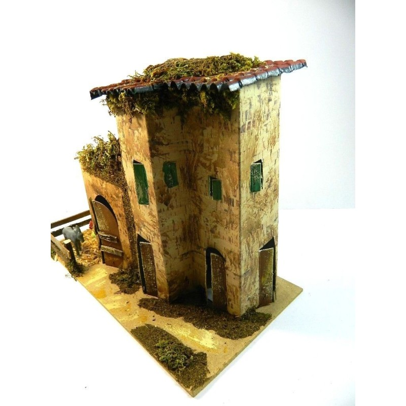 Casolare Artigianale con Pecore Cm 15x28x20h Casa Fattoria Presepe Pastori