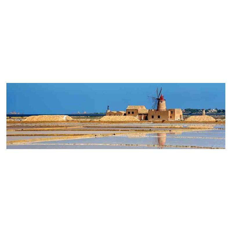 Quadro Veduta Sicilia Marsala Saline 2 Stampa su Mdf Tela Swarovski Pannello