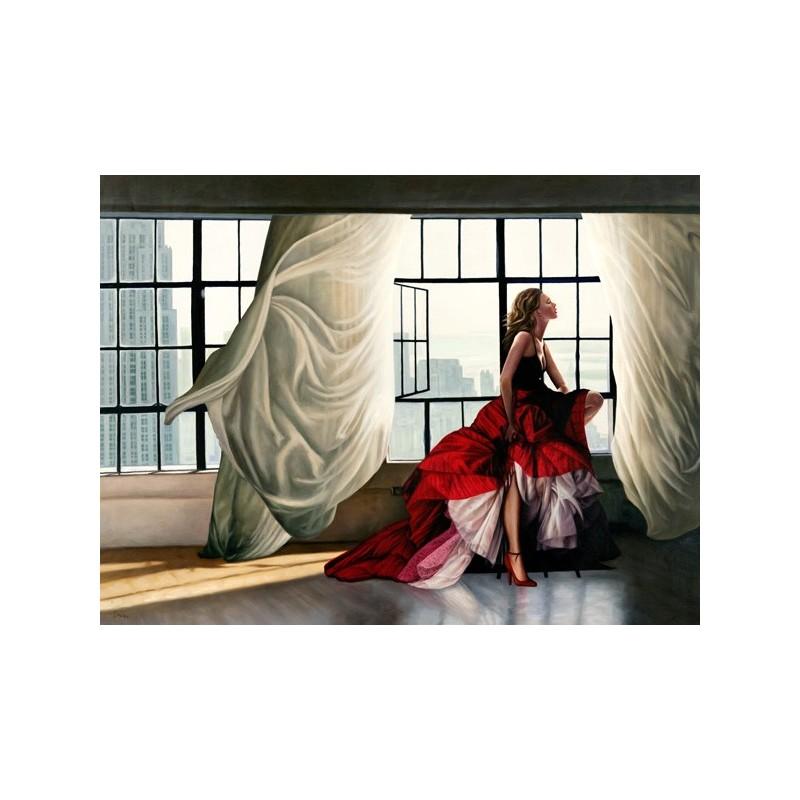 Quadro donna in rosso alla finestra benson stampa su mdf for Ragazza alla finestra quadro