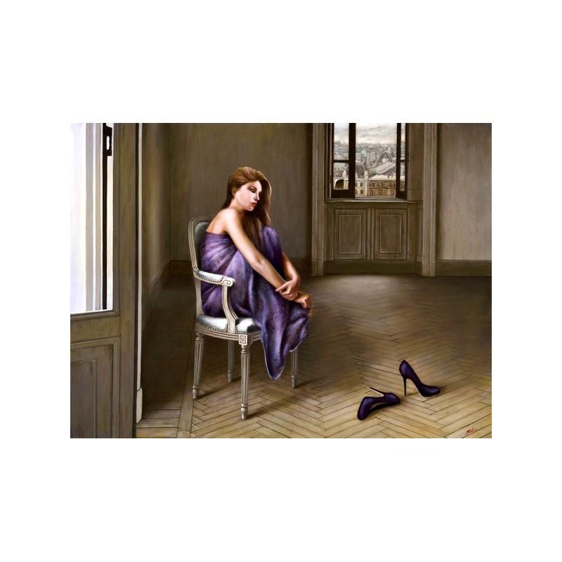 Quadro donna su sedia alla finestra 6 stampa su mdf o tela for Ragazza alla finestra quadro