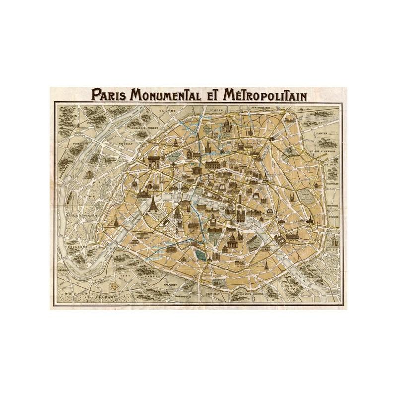 Cartina Parigi Con Monumenti E Metro.Quadro Cartina Monumenti Metro Parigi 1932 Mappa Stampa Su Mdf O Tela Swarovski Gambardella Pastori E Quadri