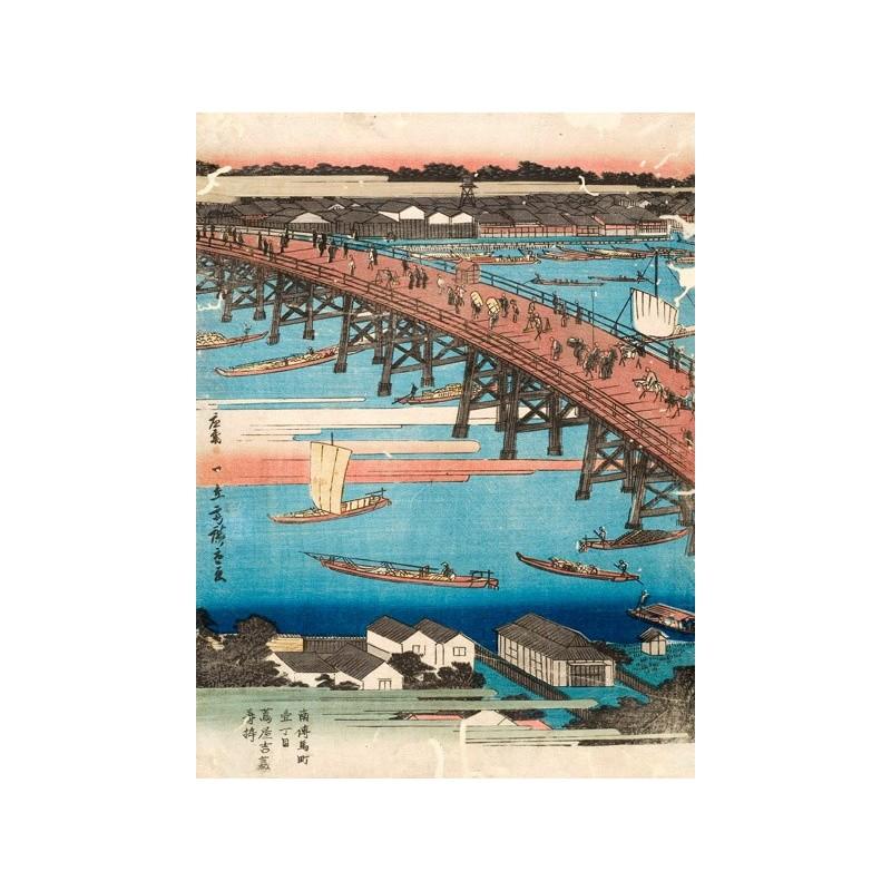 Quadro giapponese ponte mare barche stampa su mdf o tela for Arredo barche