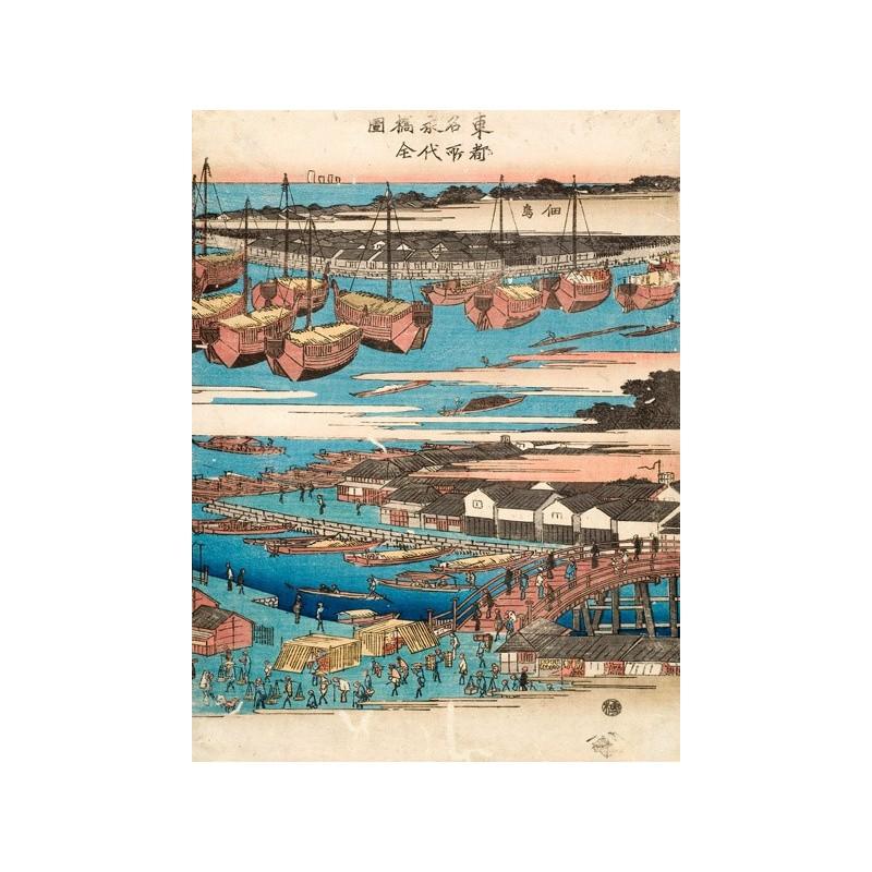 Quadro giapponese ponte mare barche iii stampa su mdf tela for Arredo barche