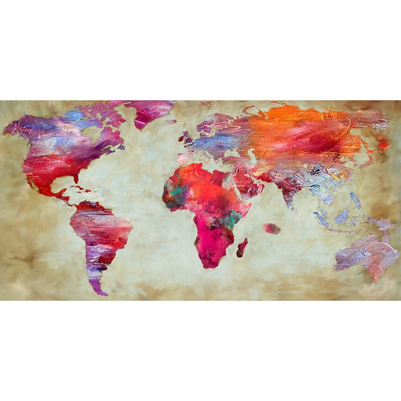 Quadro Cartina Mondo.Quadro Cartina Terra Colori Pop Art Mondo Mappa Stampa Su Mdf O Tela Swarovski Ebay