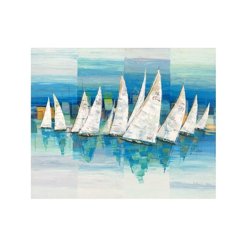 Quadro mare barche a vela n 3 stampa su mdf tela swarovski for Arredo barche