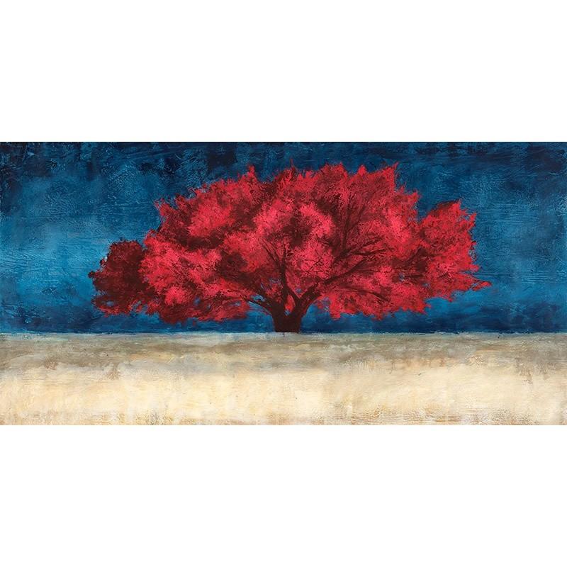 quadro albero rosso stampa su mdf o tela swarovski