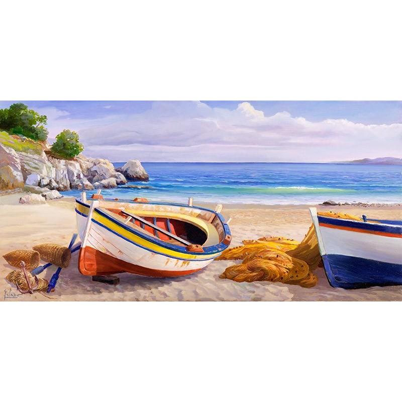 Quadro paesaggio marina spiaggia barche stampa su mdf tela for Arredo barche