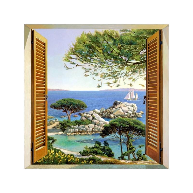 quadro mare finestra sul mediterraneo stampa su mdf o tela