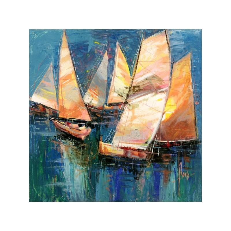 Quadro mare barche a vela veleggiando stampa su mdf o tela for Arredo barche