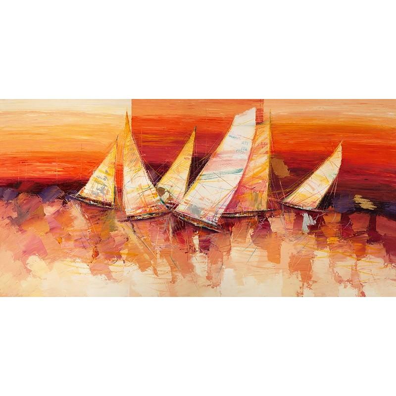 Quadro mare barche a vele all orizzonte stampa mdf o tela for Arredo barche