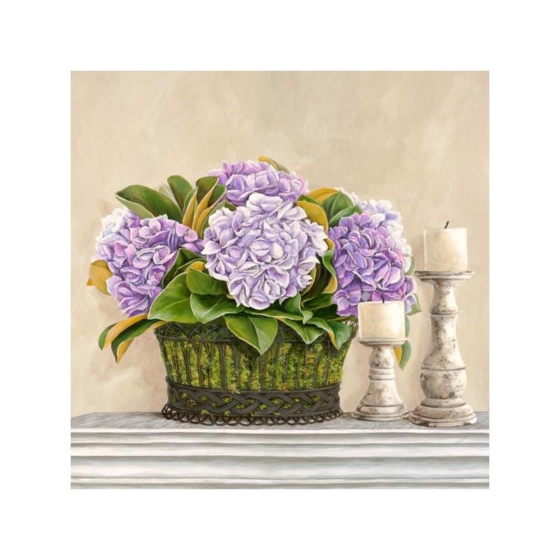 Quadri Con Ortensie : Quadro fiori vaso con ortensie stampa su mdf tela
