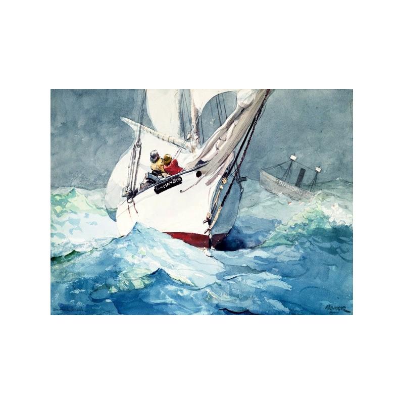 Quadro winslow homer barca a vela stampa mdf tela for Arredo barche